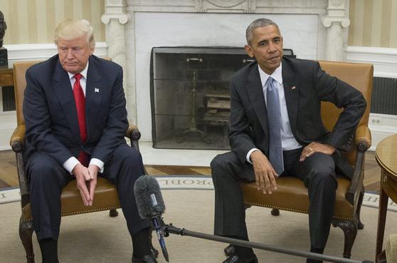 资料图:奥巴马与特朗普共同会见记者