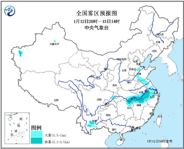 大雾黄色预警:安徽江西湖北部分地区有浓雾