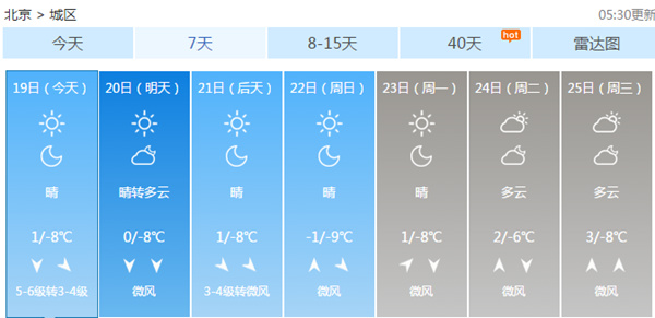北京未来7天天气预报