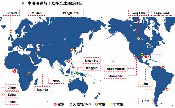 中海油参与的海外优势项目。来源:中海油官网