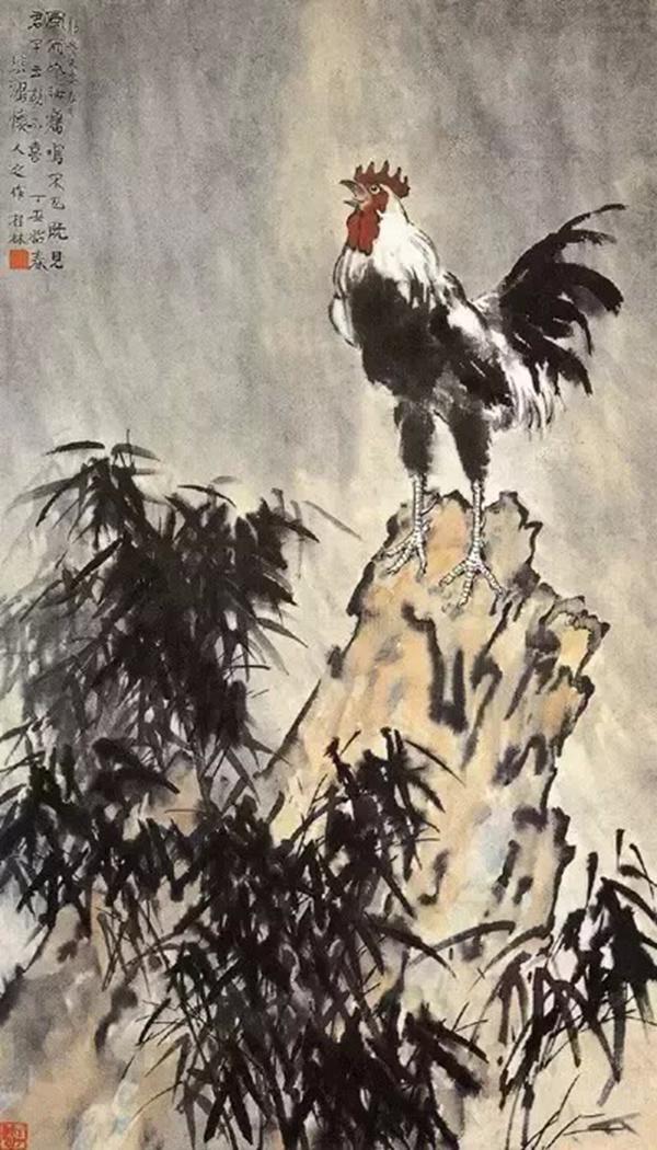 《风雨鸡鸣》 近代 徐悲鸿