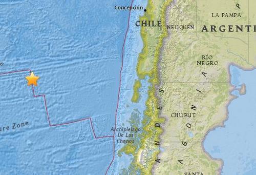 智利海隆以西海域5.3级地震 震源深度10公里