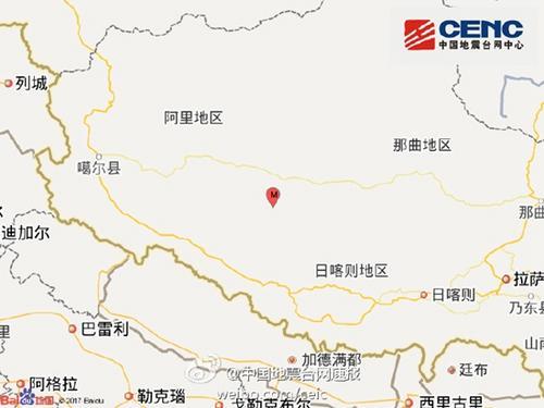 西藏阿里地区措勤县发生3.3级地震 震源深度8千米