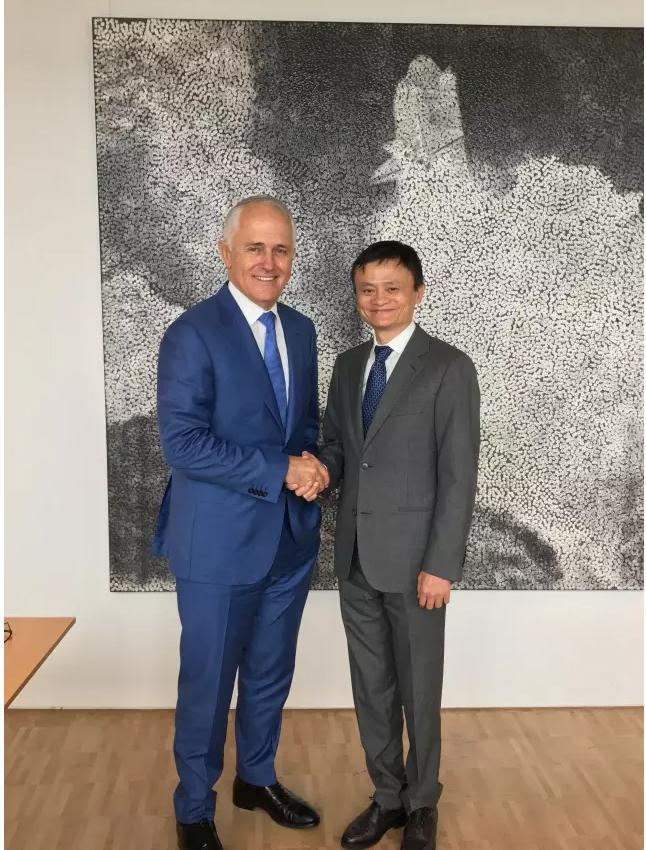 阿里巴巴集团董事局主席马云与澳大利亚总理马尔科姆•特恩布尔会面。