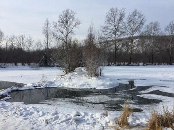 15日,内蒙古根河天寒地冻。(来源:微博@蒙古阿佳)