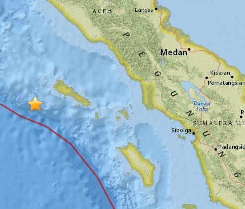 印尼苏门答腊岛西部海域5级地震 震源深25.5公里