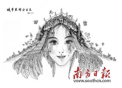 女孩背影手绘笔画
