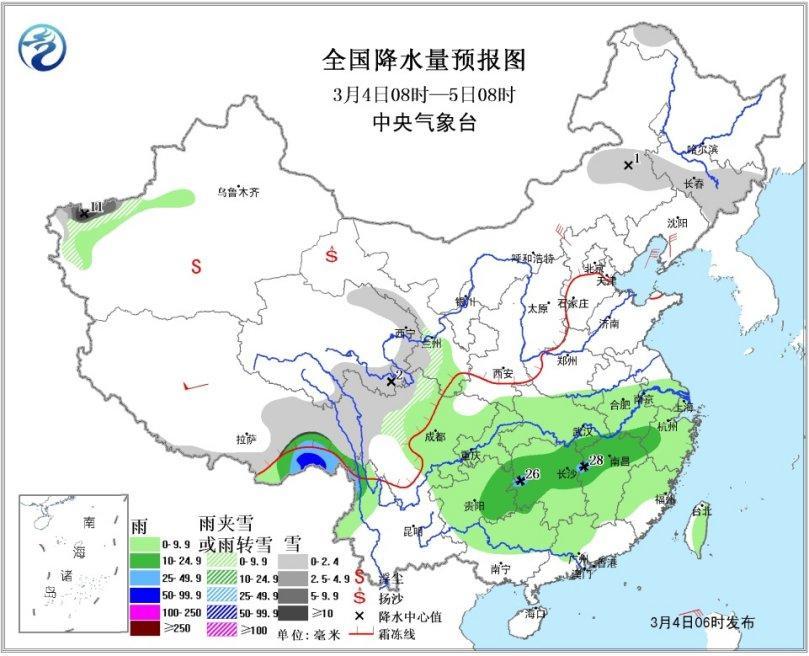 江南华南将有明显降水 冷空气影响中东部大部地区