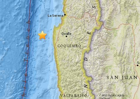 智利中部沿岸海域5.1级地震 震源深度14.3公里