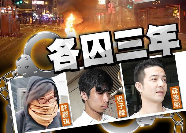 香港旺角暴乱首宗暴动罪罪成:3男女被判入狱3年