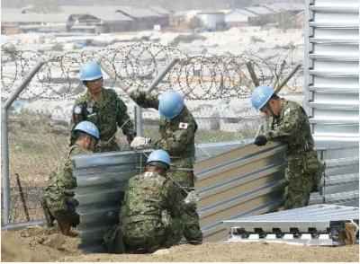 在南苏丹执行维和任务的日本陆上自卫队队员