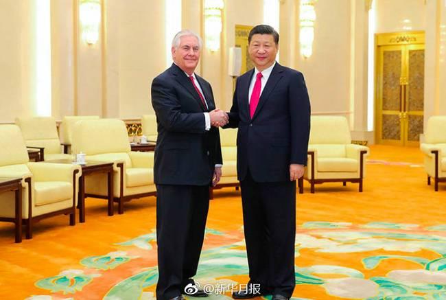 3月19日,国家主席习近平在人民大会堂会见美国国务卿蒂勒森