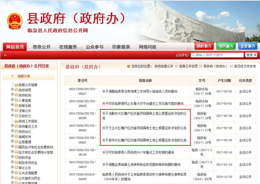 今年以来,临泉县政府共发布7个规范性文件,其中就有3个为棚户改造。