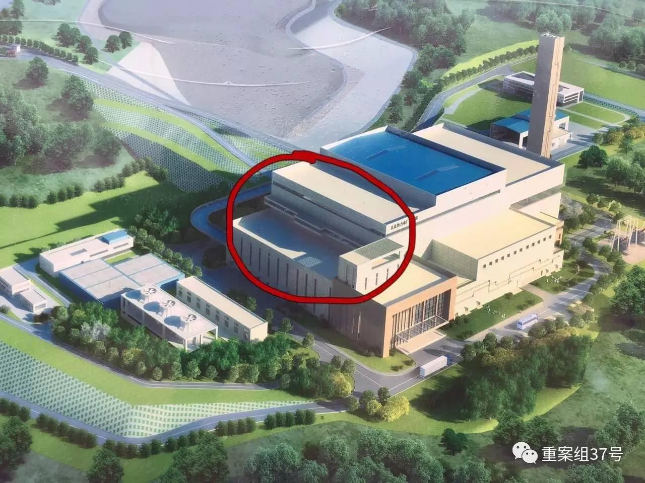 ▲在建广州第七热力发电厂效果图,红圈内为大致事发位置。  新京报记者 唐瑶 摄
