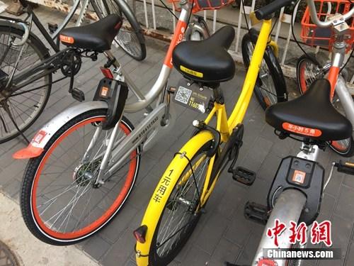 资料图。某辆共享单车号码被损。中新网 吴涛 摄