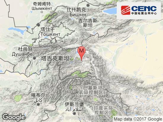 塔吉克斯坦发生3.1级地震 震源深度153千米