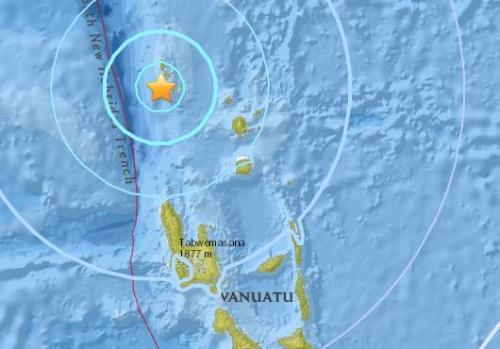 瓦努阿图西北部海域5.7级地震 震源深度20公里