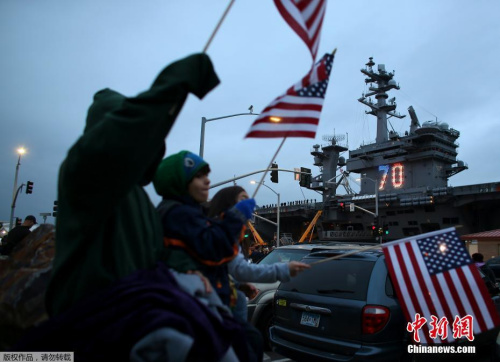 """质料图:美国""""卡尔·文森""""号航空母舰前去前去平静洋西部。"""