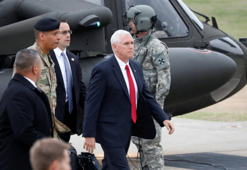 17日,美国副总统彭斯到访朝韩非军事区。(图片来源:路透社)