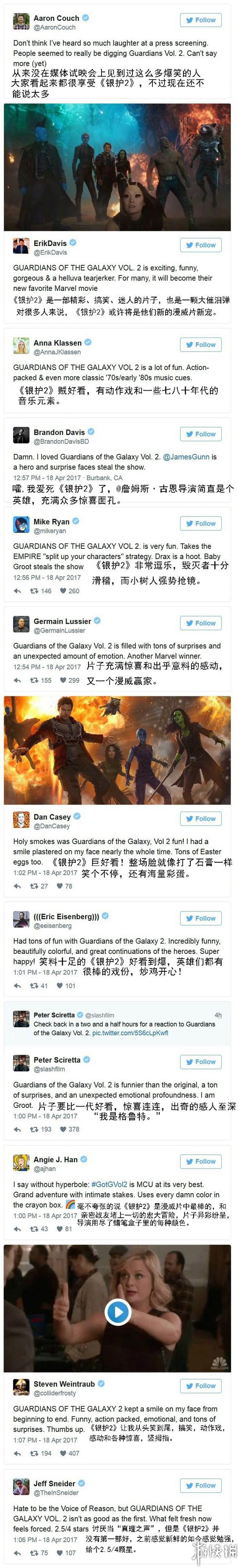 《银河护卫队2》媒体试映首批评价曝光 一致的好评