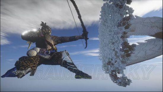 《我的世界》守望先锋半藏必杀雕塑欣赏 竜吞噬敌人