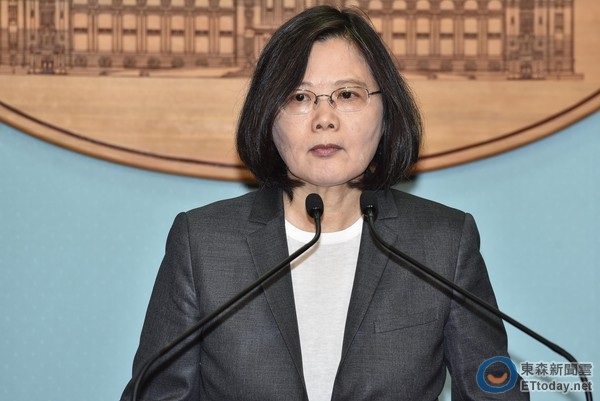 """台湾地区领导人蔡英文。(图片来源:台湾""""东森新闻云"""")"""