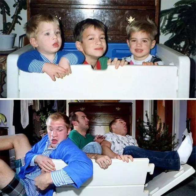 最近国外流行翻拍童年照,这炸裂的脑洞,笑到根本停不下来