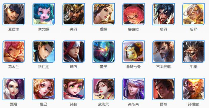 《王者荣耀》的英雄列表,大部分都是中国人耳熟能详的角色