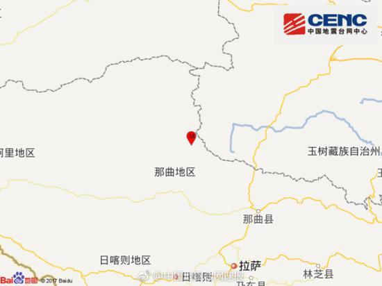西藏那曲地区双湖县3.4级地震 震源深度8千米