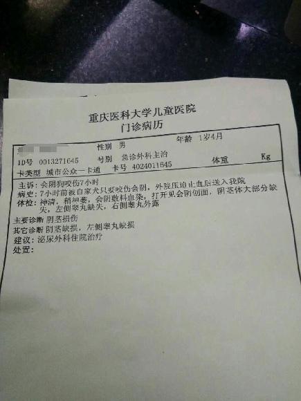 男童的入院病历。受访者供图