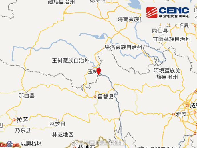 青海玉树州玉树市发生3.3级地震 震源深度9千米
