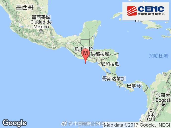 中美洲沿岸远海发生6.2级地震 震源深度10千米