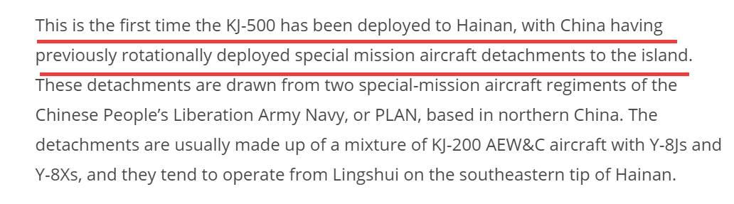 ▲报道强调说这是空警-500首次部署在海南,和中国此前派出的轮换部署飞机特遣队都从属于中国人民解放军海军。