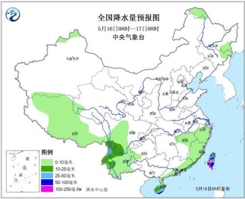 图1全国降水量预报图(16日08时-17日08时)