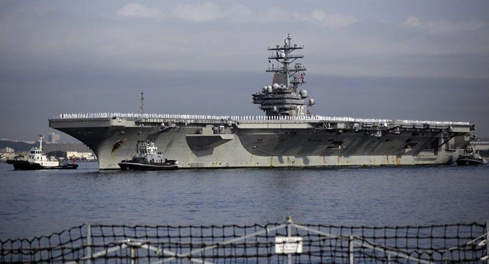 美军里根号航母因故障无法离开日本横须贺基地