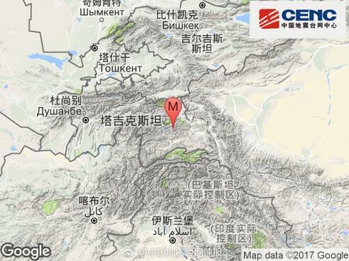 塔吉克斯坦发生4.7级地震 震源深度137千米
