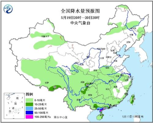 图4 全国降水量预报图(5月19日20时-20日20时)
