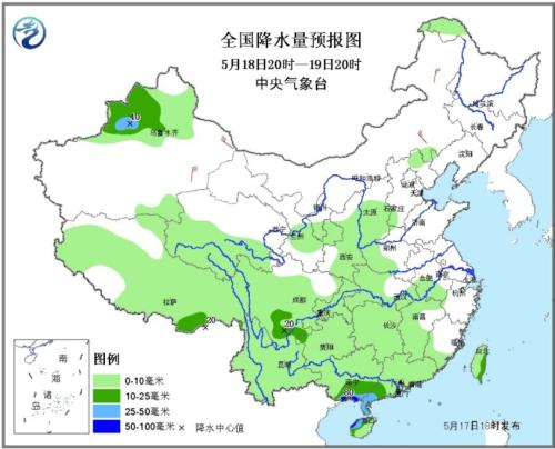 图3 全国降水量预报图(5月18日20时-19日20时)