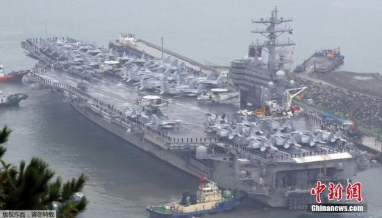 """图为美国尼米兹级核动力航空母舰""""罗纳德-里根号"""""""