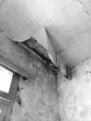 因瓦片受损王宝华家房屋有雨水渗漏