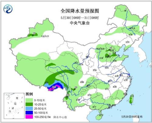 全国降水量预报图(30日08时-31日08时)