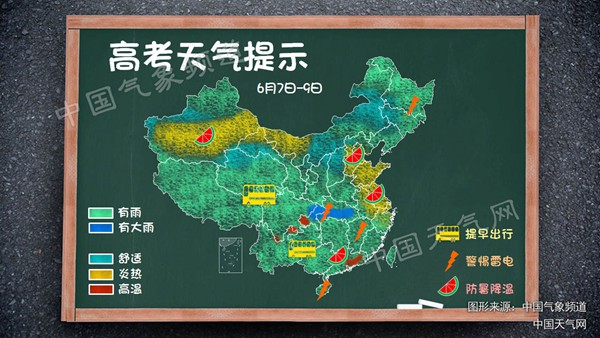 高考期间全国无大范围高温 四川重庆等有暴雨