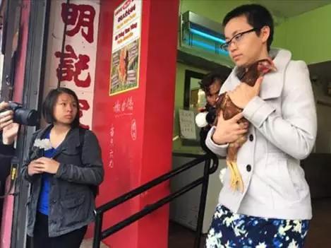 抗议者抱着鸡走出家禽店