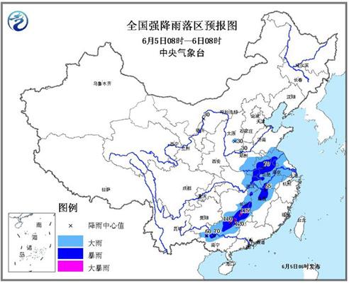 暴雨蓝色预警:河南江苏等7省区局地有大暴雨