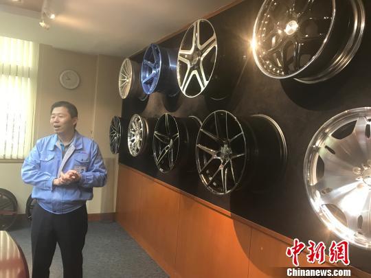 图为康翔铝业(泰州)有限公司生产的汽车轮毂。 杨颜慈 摄