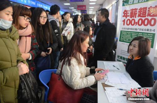 资料图:2016年2月15日,山西太原,春节后首场高校毕业生招聘会开场,图为众多求职者被一家公司的高薪待遇吸引。韦亮 摄
