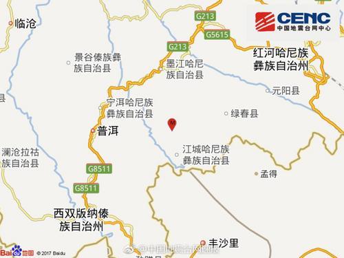 云南红河州绿春县发生3.4级地震 震源深度5千米