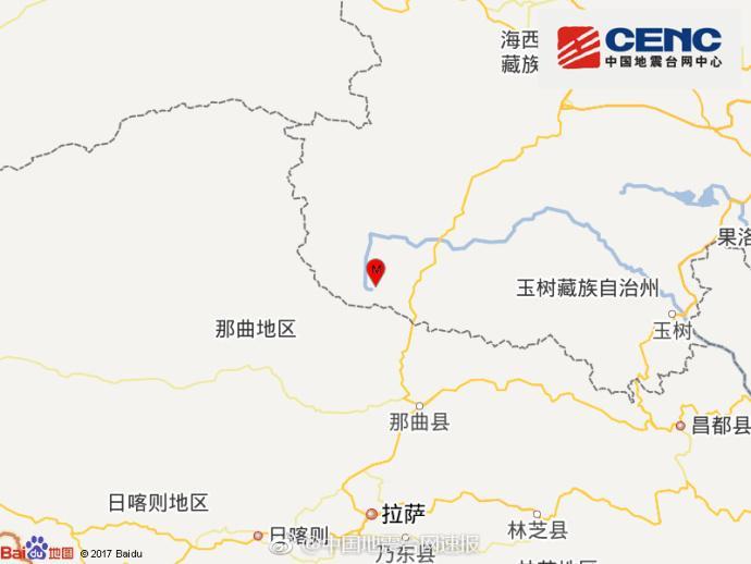 青海海西州唐古拉地区发生4.8级地震 震源深度11公里