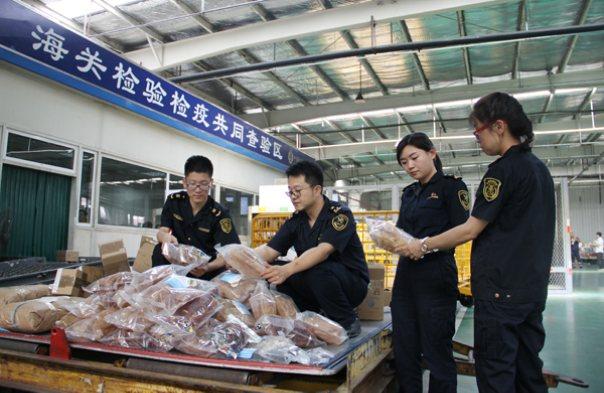 天津关检联合查获花胶,鹿舌等禁止进境动物制品29.5公斤(图)