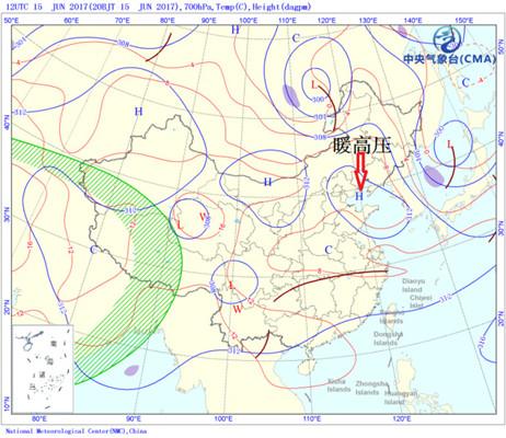 北京目前正处于暖高压控制。图片来源:微博@气象北京